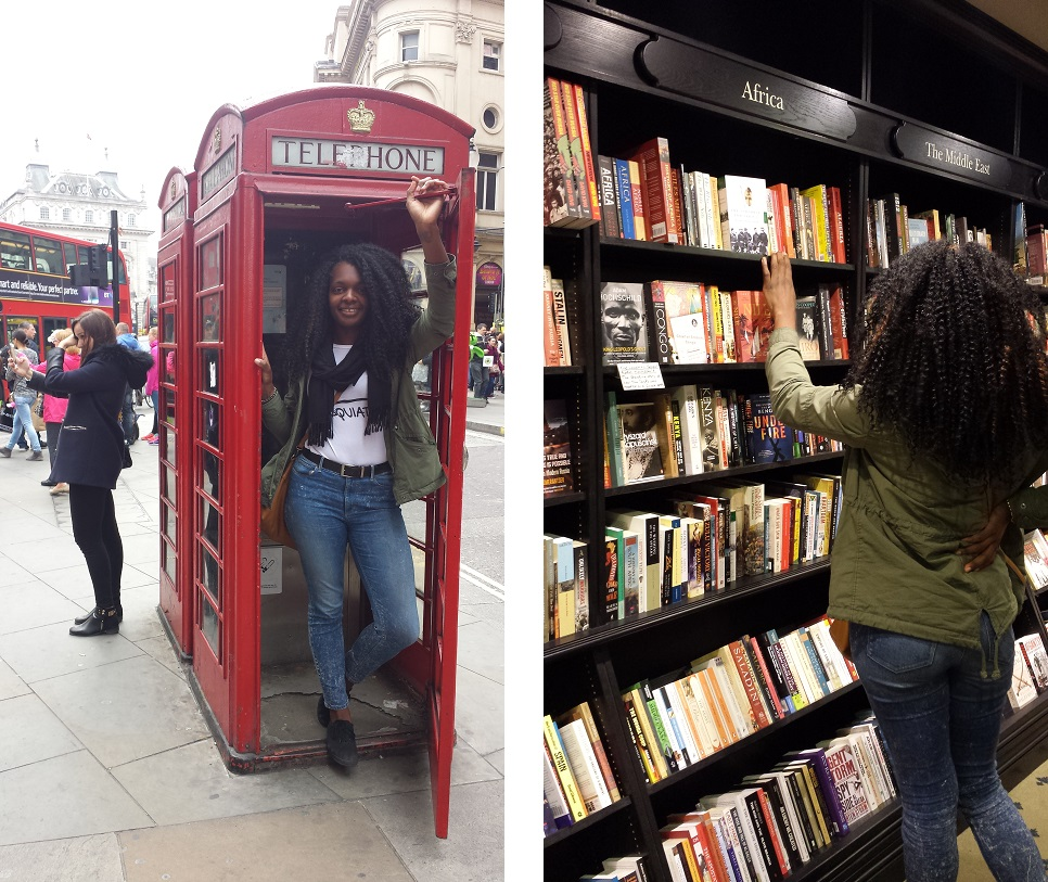 London phone booth and bookstore